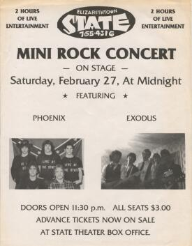 Flyer for State Theater concert