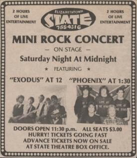 Newspaper ad for State Theater concert