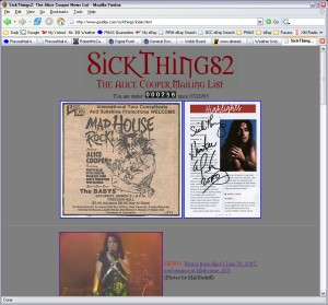 Hunter's Alice Cooper site